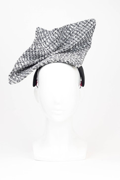 Tally Ho - Black & White Tweed Headpiece by Serena Lindeman Millinery