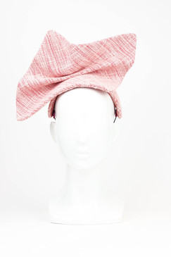 Ineffable Tweed - Sculptural Pink Tweed Headpiece by Serena Lindeman Millinery