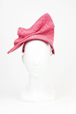 Fashion Blogger - Bright Pink Tweed Headpiece by Serena Lindeman Millinery