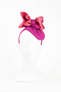 Fuschia Pink Felt Fascinator with Bow Trim by Fillies Collection