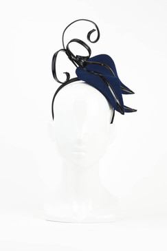 Navy & Black Felt PVC Leaf Fascinator by Fillies Collection