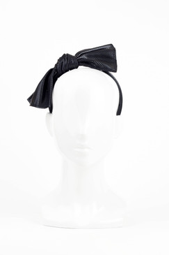 Black Perforated Faux Leather Bow Headband