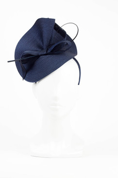 Navy Blue Sculptural Headpiece with Quill by Morgan & Taylor