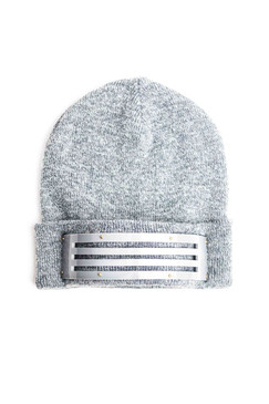 Grey Marle Beanie with Slotted Perspex Band by Keely Hunter Millinery