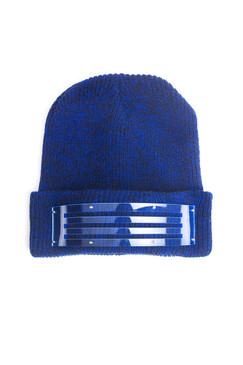 Blue Marle Beanie with Perspex Band Trim by Keely Hunter Millinery