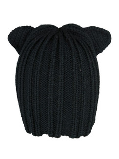 Black Knit Kitty Beanie Hat by Morgan & Taylor