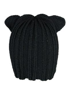 Black Knit Kitty Beanie Hat by Morgan & Taylor