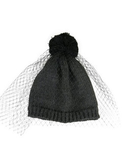 "Charcoal Grey ""Elsa"" Beanie Hat with Netting by Morgan & Taylor"