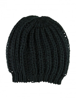 "Black Chunky Knit ""Bianca"" Beanie Hat by Morgan & Taylor"