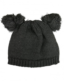 Betina - Charcoal Grey Double Pom Pom Beanie Hat by Morgan & Taylor