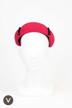 Cerise 1950s Vintage Felt Cap with Black & Diamante Trim