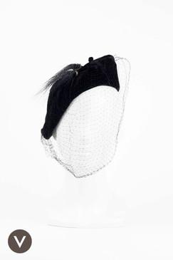 Black 1940s Velvet Assymetrical Slouch with Veil & Horsehair Trim