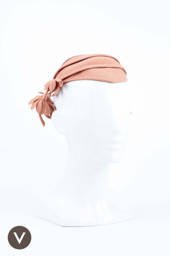 Dusty Pink 1940s Vintage Cap with Hanging Flowers