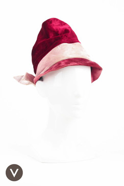 Vintage 50s Red and Pink Panne Velvet Hat by Lilly Dache