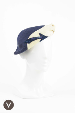 1950s Blue and Cream Straw Slouch Beret with Beaded Arrow Trim - Frederic Hawes