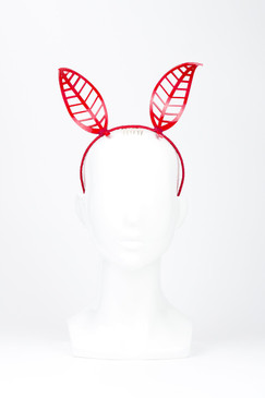 Red Perspex Leaf Bunny Ears by Rebecca Share