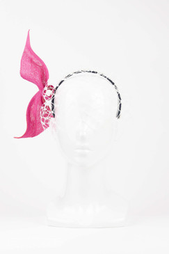 Pink & Coral Straw Twist with Birdcage Veil by Louise Macdonald Millinery