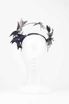 Artemis - Black & Pewter Halo Headpiece with Leather Bows by Louise Macdonald Millinery