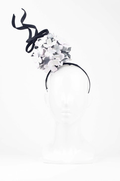 Pale Pink Hydrangea Puff with Floating Bow by Stephanie Spencer Millinery