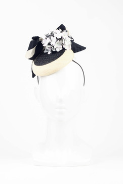 Black & Cream Button Beret with Striped Silk Bow & Hydrangea Trim by Stephanie Spencer