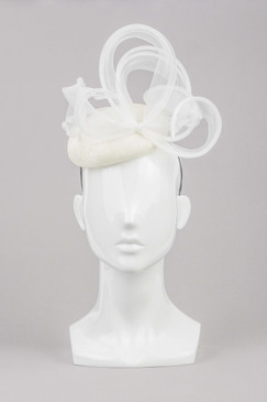 Linda - Ivory Sinamay Beret with White Organza Curled Ribbons by Lisa Tan