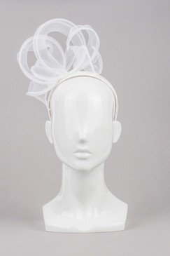 Lara - White Silk Covered Headband with White Organza Ribbon Curls by Lisa Tan