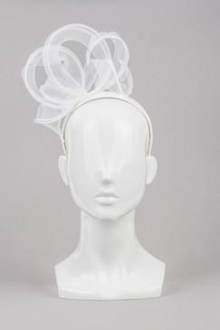 Lara - White Silk Covered Headband with White Organza Ribbon Curls by Lisa Tan