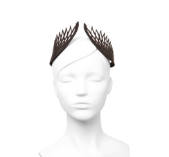 Black Lasercut Leather Geometric Thea Crown by Studio ANISS