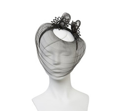 Black Crinoline Veil Tara Headpiece with Lasercut Perspex Trim by Studio ANISS