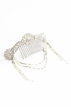 Malmaison - Draped Beaded Silver Headpiece by Richard Nylon Bridal