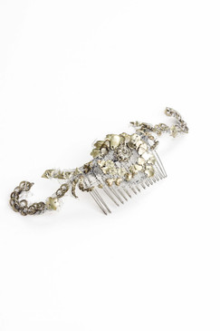 Chrome Leaves - Chrome coloured beaded headpiece with leaf detail by Richard Nylon Bridal