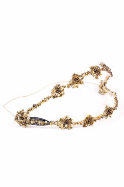 Kimmy - Bronze Beaded Double Headband by Richard Nylon Bridal