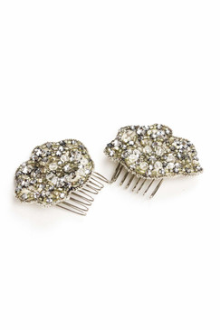 Ilona - Two Piece Art Nouveau Styled Bridal Hair Combs with Swarovski Crystals by Richard Nylon Bridal