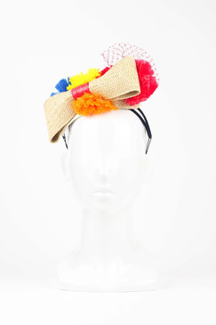 Straw Headband with Multi-coloured Pom Pom Trim by Angela Menz