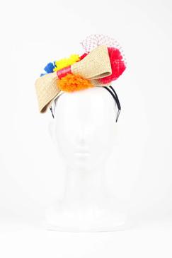 Straw Headband with Multi-coloured Pom Pom Trim by Angela Menz
