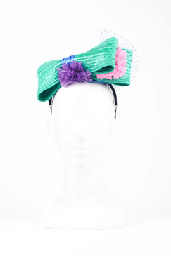 Green Straw Headband with Multi-coloured Pom Pom Trim by Angela Menz