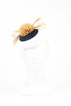 Black & White Straw Beret with Raffia Pom Pom & Bow Trim by Serena Lindeman