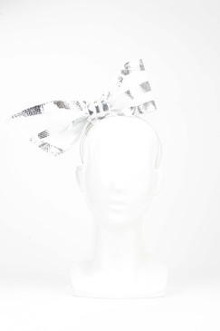 Beau - White Neoprene Bow with Gold Foil Trim by Richard Nylon