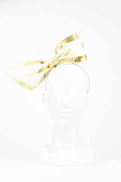 Beau - White Neoprene Bow with Silver Foil Trim by Richard Nylon