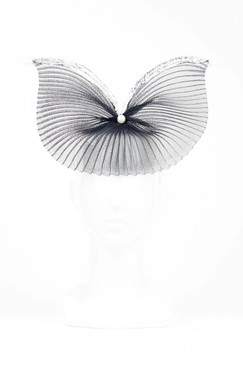 Elevation - Black Pleated Crinoline Headband with Silver Trim by Richard Nylon