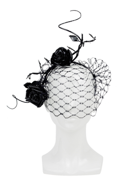 Black Leather Rose Headpiece with Birdcage Veil by Stephanie Spencer Millinery