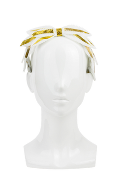 Julia - Gold and White Laurel Leaf Headband by Richard Nylon