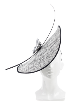 Black and White Butterfly Profile Hat by Amanda Dudley Millinery