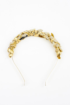 Juno Gold - Gold & Diamante Bridal Headband by Natalie Bikicki Millinery Wedding Headpiece