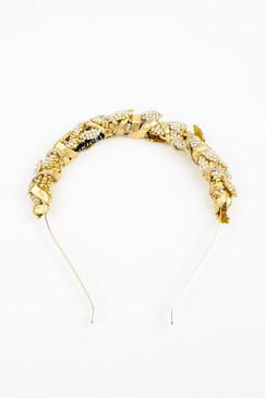 Juno Gold - Gold & Diamante Bridal Headband by Natalie Bikicki Millinery Wedding Headpiece