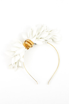 White Faux Leather Leaf Headband by Natalie Bikicki Millinery