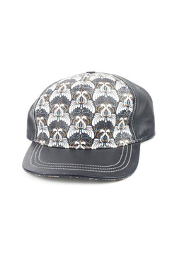 Lazarus - Leather Art Deco Swan Silkscreen Printed Baseball Cap