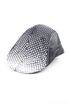 Modern Love - Black and White Silk Screened Geometric Flat Cap