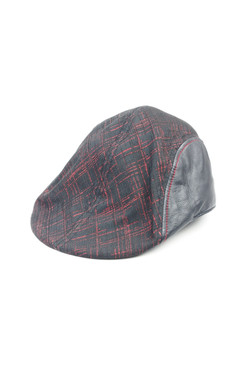 Modern Love - Hand Stitched Leather and Red Sparkle Italian Fabric Flat Cap
