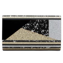 Pheonix - Black Gold & Silver Perspex Clutch by Olga Berg